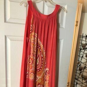 Peach Paisley Tie Neck Dress